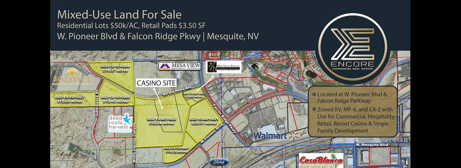 <small>MIXED USE LAND FOR SALE</small>W. PIONEER BLVD. & FALCON RIDGE MESQUITE NV.