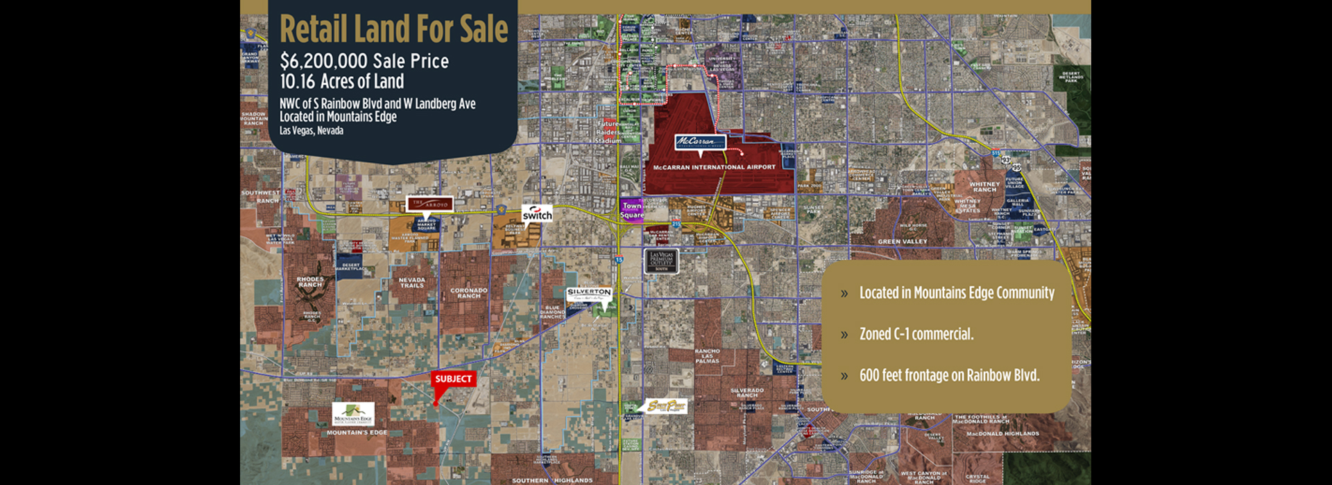 <small>RETAIL LAND FOR SALE 10.16 ACRES OF LAND</small>S. RAINBOW BLVD W. LANDBERG AVE.